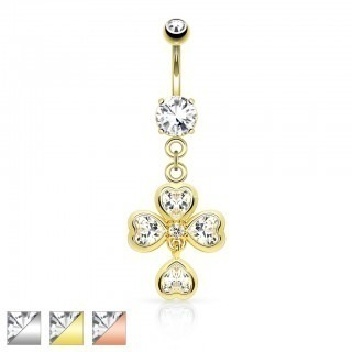 Coloured belly bar with hearts as shamrock