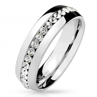 316L Stainless Steel ring with line of gems