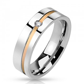 Steel ring with CZ gem and diagonal rose gold line