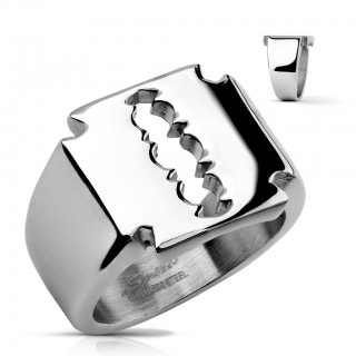 Ring with top as razor blade