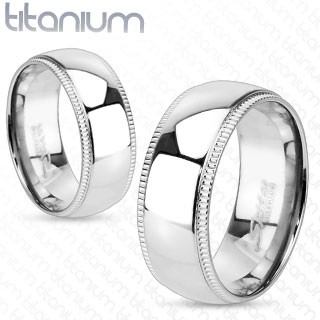 Solid titanium ring with line grooved edge
