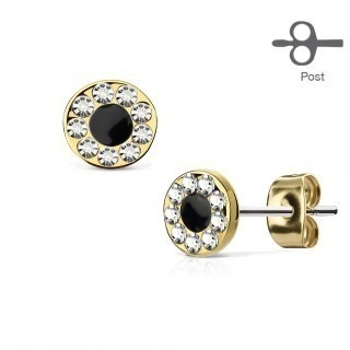 Pair ear studs with gems and black centre
