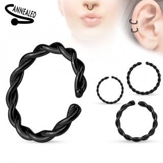 Multifunctional piercing ring with coloured twist