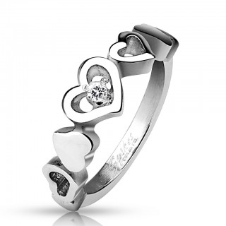 Steel ring with linked hearts and clear gem
