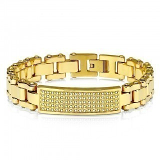 Gold bracelet with crystal plate