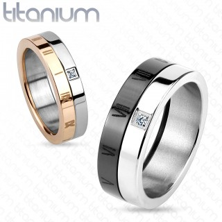 Two tone titanium ring with Roman numbers and clear zirconia