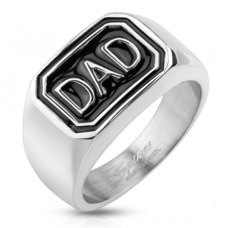 Ring with black inlay and 'DAD' casted