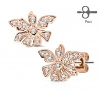 Pair earstuds with flower and clear gemstones