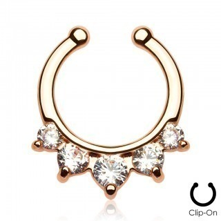 Gold plated septum clip on with five crystals