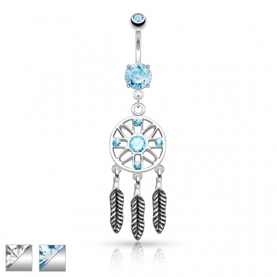 Belly piercing with dreamcatcher and feather dangle