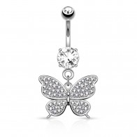Solid golden butterfly belly piercing with crystal centre