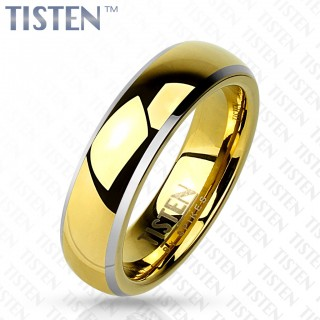 Glossy mirror polished rose gold Tisten ring with beveled edge