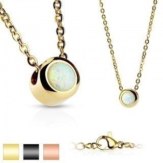 Coloured necklace with white opal stone