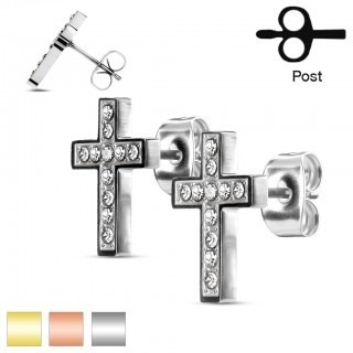 Set of ear studs with gems in cross