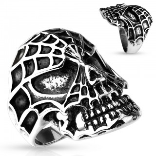 316L Steel ring with Spiderman skull