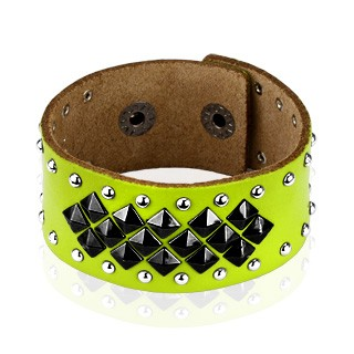 Green leather bracelet with pyramid studs