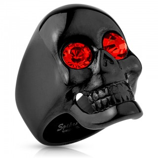 Glossy black ring with red gem eyed skull