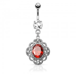 Belly bar with graceful dangle and coloured oval gem