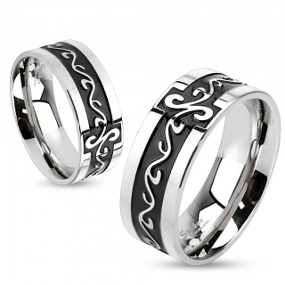 Steel ring with grooved tribal swirls