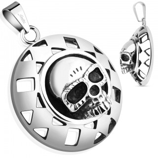 Pendant with skull in round shield