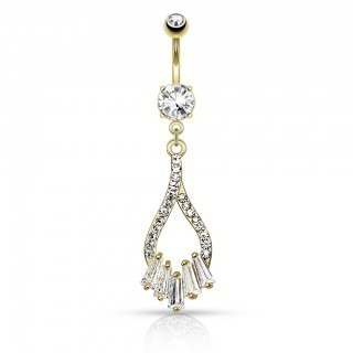 Belly bar with tear drop and five dangling crystals