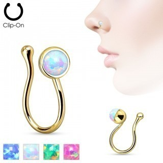 Gold plated clip on nose piercing with Opal crystal