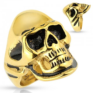 Steel ring with gold and black skull 316L