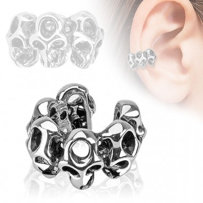 Clip on helix ring with skulls