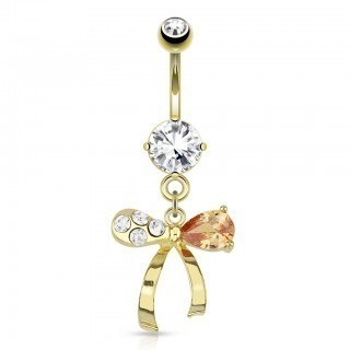 Gold belly button piercing two colours on ribbon