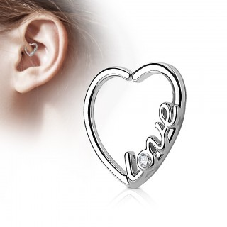 Piercing ring in heart shape with