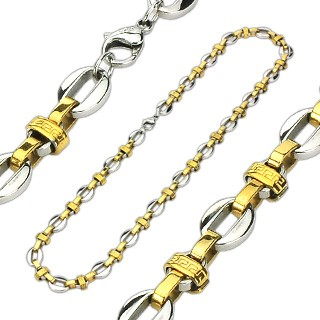 316L stainless steel link necklace with gold links