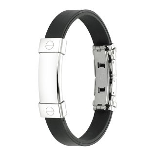 Rubber bracelet with empty ID plate