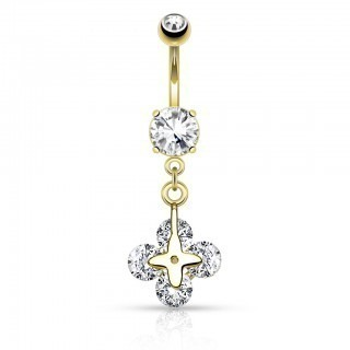 Belly bar with dangle of four clear stones
