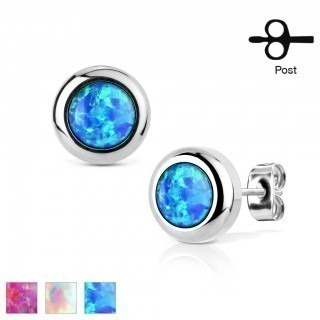 Pair ear studs with coloured opal