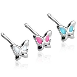 Nose stud with butterfly and coloured wings