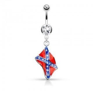 Belly bar with dangling flag and double jewelled