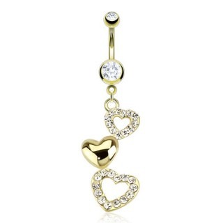 Gold plated belly bar with three dangling hearts