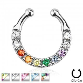 Fake nose piercing with ten coloured crystals