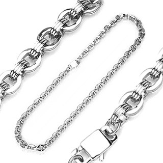 316L stainless steel link necklace with O rings