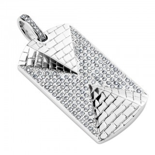 Pendant with 3D pyramids and crystals