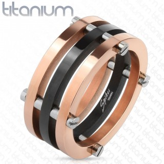 Two Toned black and rose gold ring with posts