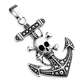 Anchor with skull in center pendant