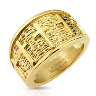 Gold ring with lined crosses