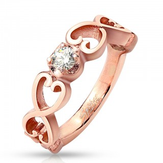 Rosé gold ring with six vintage hearts and clear CZ