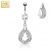 Solid golden belly piercing with Tear Drop dangle