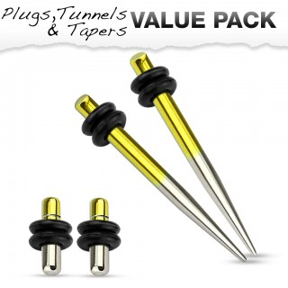 Titanium plated stretch set inc. plugs met metallic geel and zilver