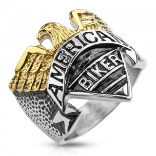 Ring with eagle and 'American Biker' engraving