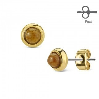 Pair of ear studs with round gemstone