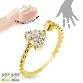 Adjustable gold mid ring with heart of gemstones