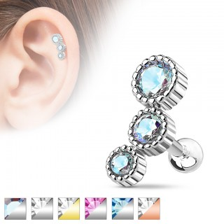 Helix piercing with three ascending crystal in round sockets